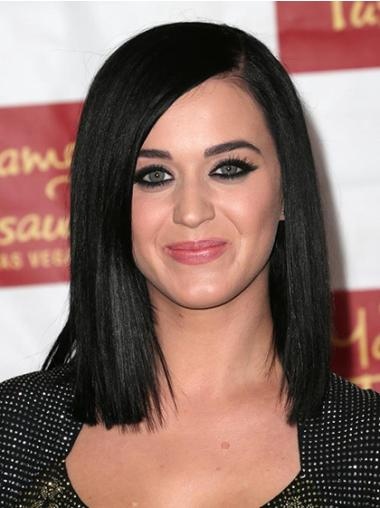 Perfect Black Straight Shoulder Length Katy Perry Wigs