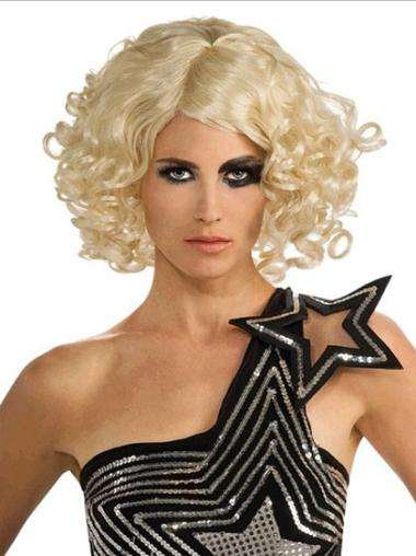 Lace Front Blonde Curly Tempting Lady Gaga Wigs