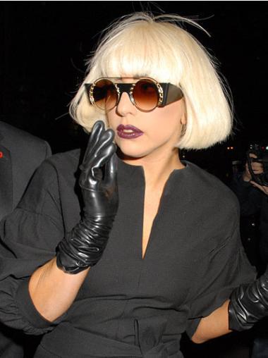 Unique Blonde Straight Chin Length Lady Gaga Wigs