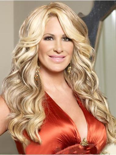 Cheap Blonde Wavy Long Kim Zolciak Wigs