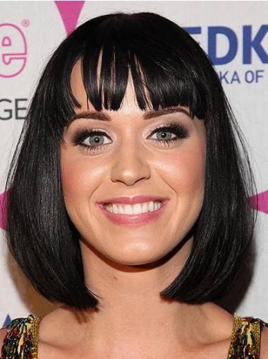 Suitable Black Straight Chin Length Katy Perry Wigs