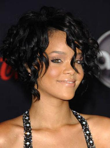 Refined Black Straight Chin Length Rihanna Wigs