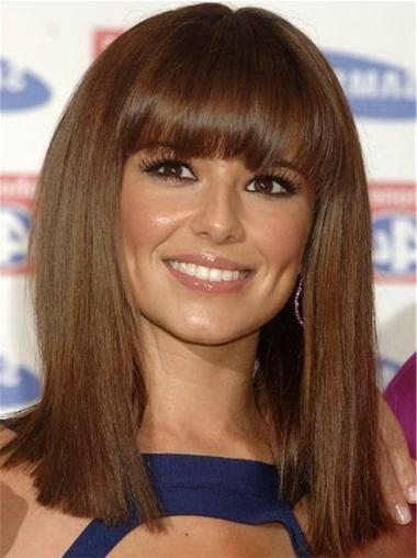 Impressive Brown Straight Shoulder Length Cheryl Cole Wigs