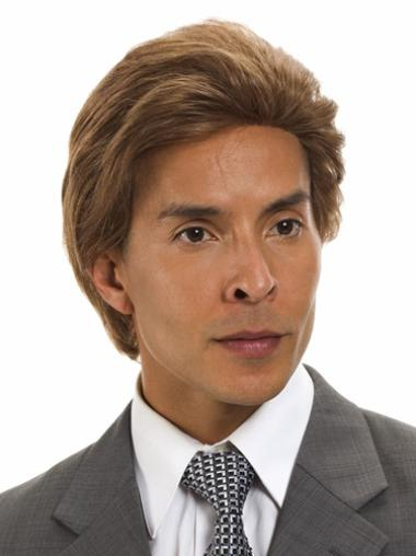 Durable Brown Straight Remy Human Hair Men Wigs