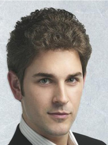Fashionable Brown Curly Synthetic Men Wigs