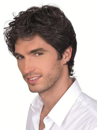 Monofilament Brown Curly Glamorous Men Wigs