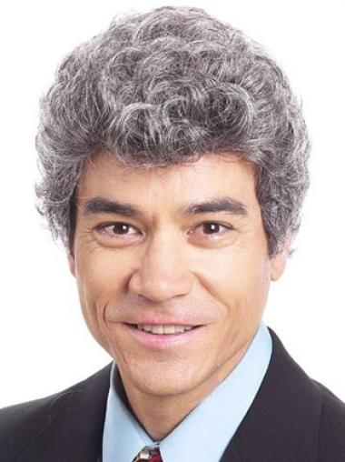 Style White Curly Synthetic Men Wigs