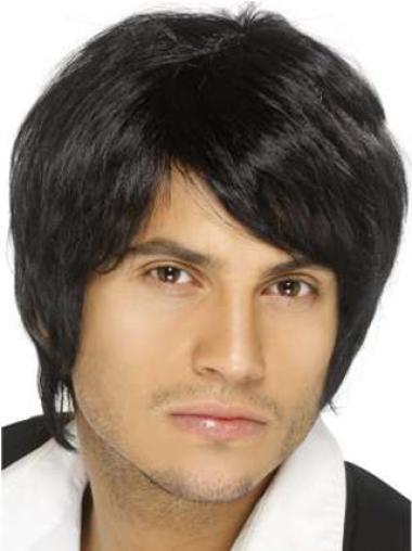Traditiona Black Straight Men Wigs