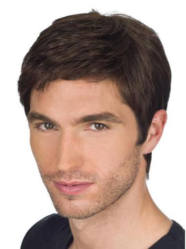 Great Brown Straight Remy Human Hair Men Wigs