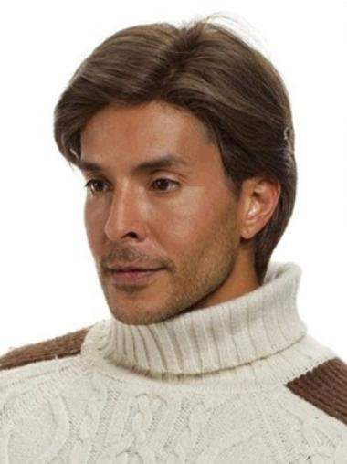 Monofilament Brown Straight Exquisite Men Wigs