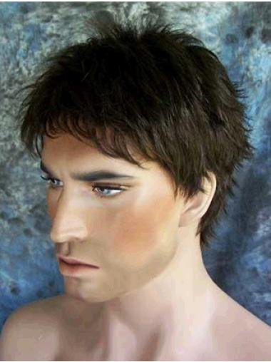 Comfortable Black Straight Synthetic Men Wigs