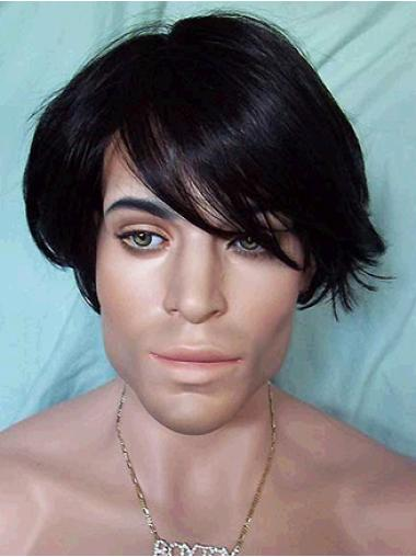 Suitable Black Straight Synthetic Men Wigs