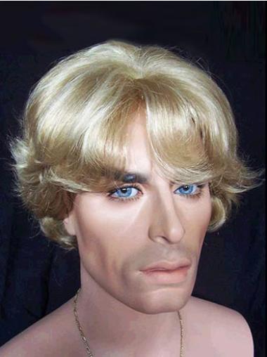Pleasing Blonde Wavy Synthetic Men Wigs