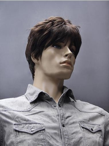 Gentle Straight Brown Synthetic Men Wigs