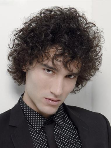 Online Black Curly Synthetic Men Wigs