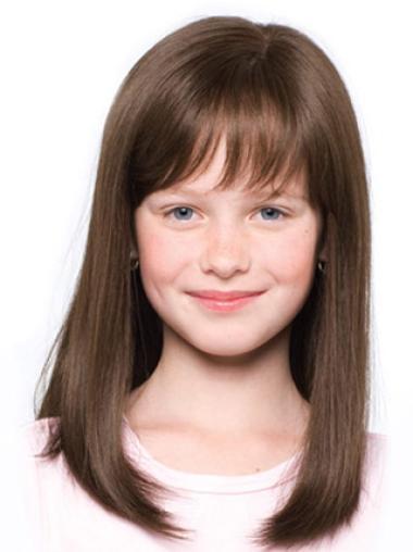Top Brown Straight Shoulder Length Kids Wigs