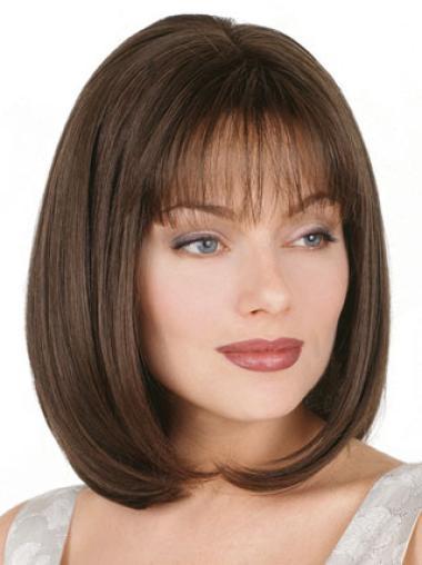 Fashion Brown Straight Chin Length Petite Wigs