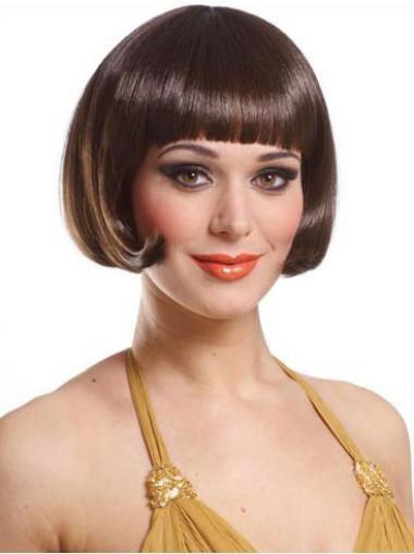 Great Brown Straight Short Bob Wigs