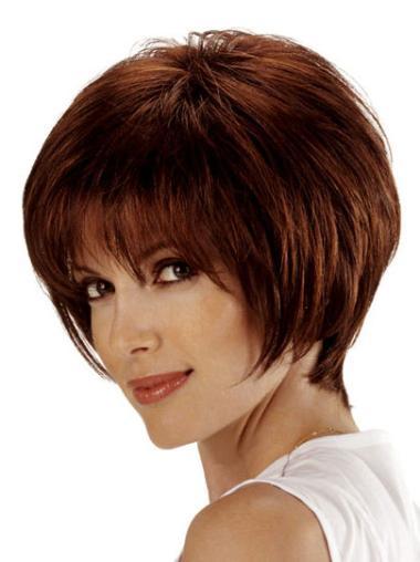Modern Auburn Straight Chin Length Remy Human Lace Wigs