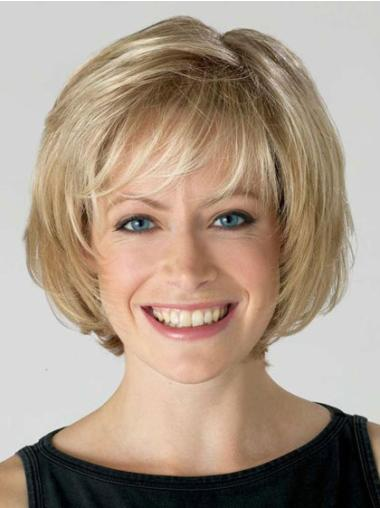 Comfortable Blonde Straight Short Lace Front Wigs
