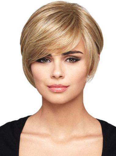 Traditiona Blonde Straight Short Bob Wigs