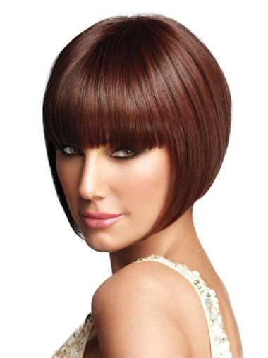 Discount Auburn Straight Chin Length Bob Wigs
