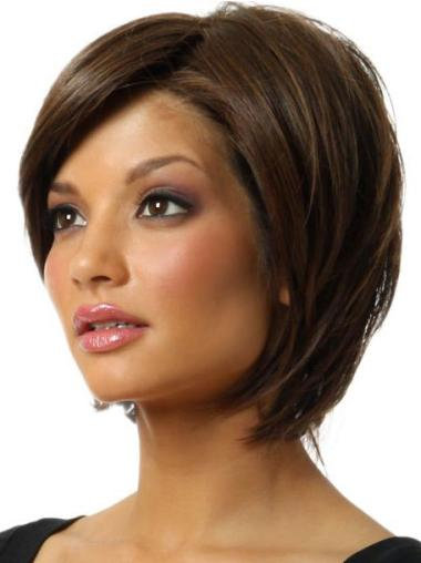 Discount Brown Straight Chin Length Bob Wigs