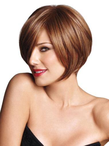 Tempting Brown Straight Short Bob Wigs