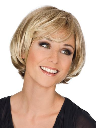 Monofilament Blonde Wavy Traditiona Bob Wigs