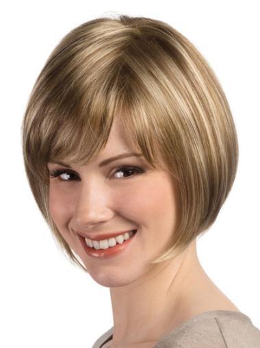 Monofilament Blonde Straight Braw Short Wigs