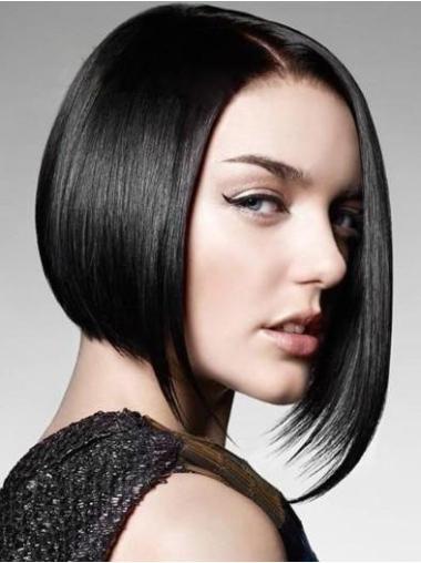 Monofilament Black Straight Unique Human Hair Wigs