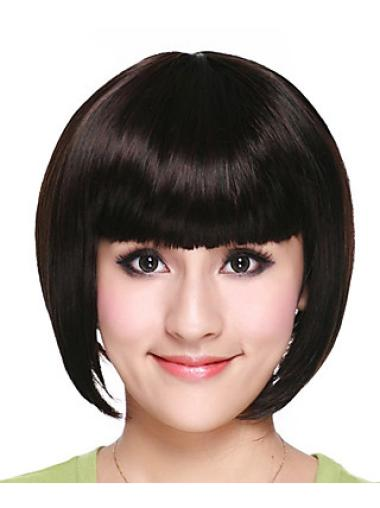 Great Black Straight Chin Length Bob Wigs