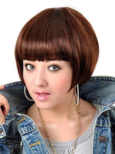 Exquisite Auburn Straight Short Bob Wigs