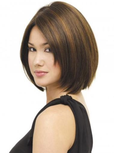 Radiant Brown Straight Chin Length Bob Wigs