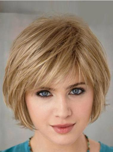 Trendy Blonde Straight Short Bob Wigs