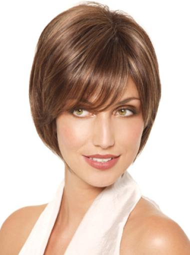 Monofilament Brown Straight Sassy Lace Wigs
