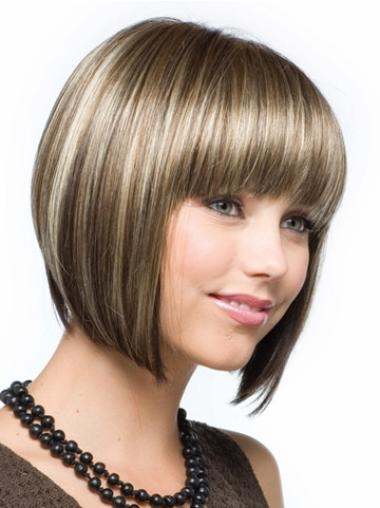 Cool Brown Bobs Straight Short Wigs