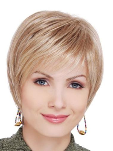 Lace Front Blonde Straight Beautiful Short Wigs