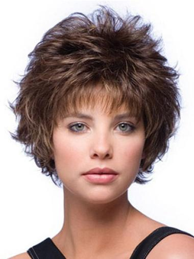 Cheapest Brown Synthetic Wavy Short Wigs