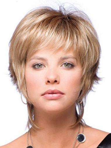 High Quality Blonde Synthetic Straight Short Wigs