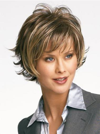 Amazing Brown Synthetic Wavy Short Wigs