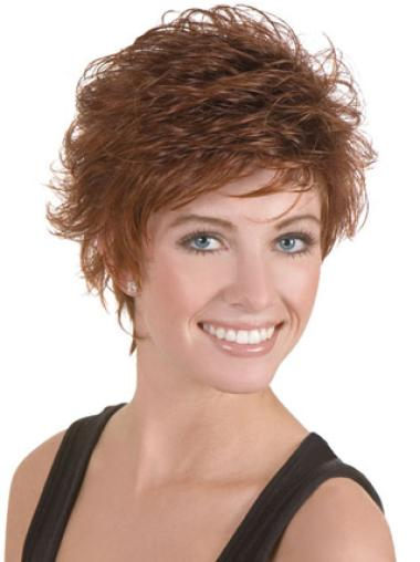 Lace Front Brown Wavy Faddish Short Wigs
