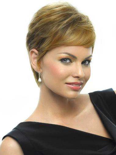 Graceful Blonde Straight Cropped Wigs