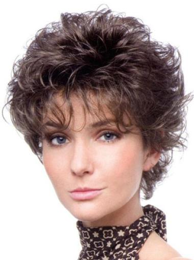 Pleasing Brown Curly Cropped Classic Wigs