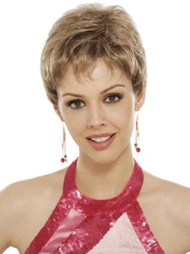 Lace Front Blonde Wavy Designed Short Wigs