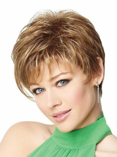 Monofilament Blonde Straight Stylish Wigs For Cancer