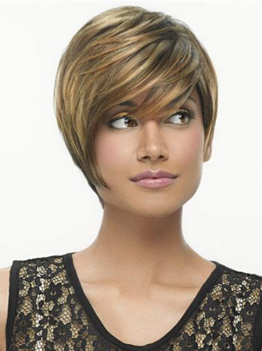 Amazing Brown Synthetic Straight Short Wigs