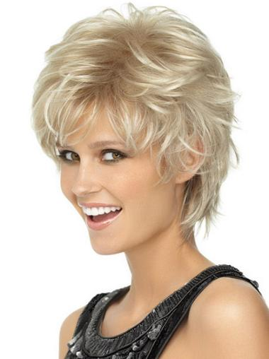 Preferential Blonde Synthetic Wavy Short Wigs