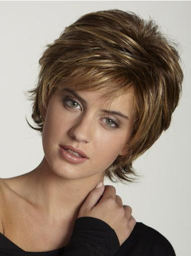 Impressive Brown Synthetic Straight Short Wigs