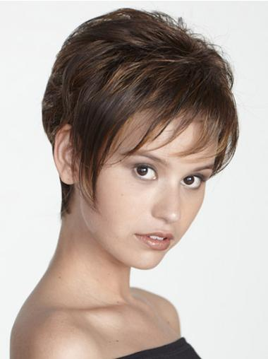 No-fuss Brown Synthetic Straight Short Wigs